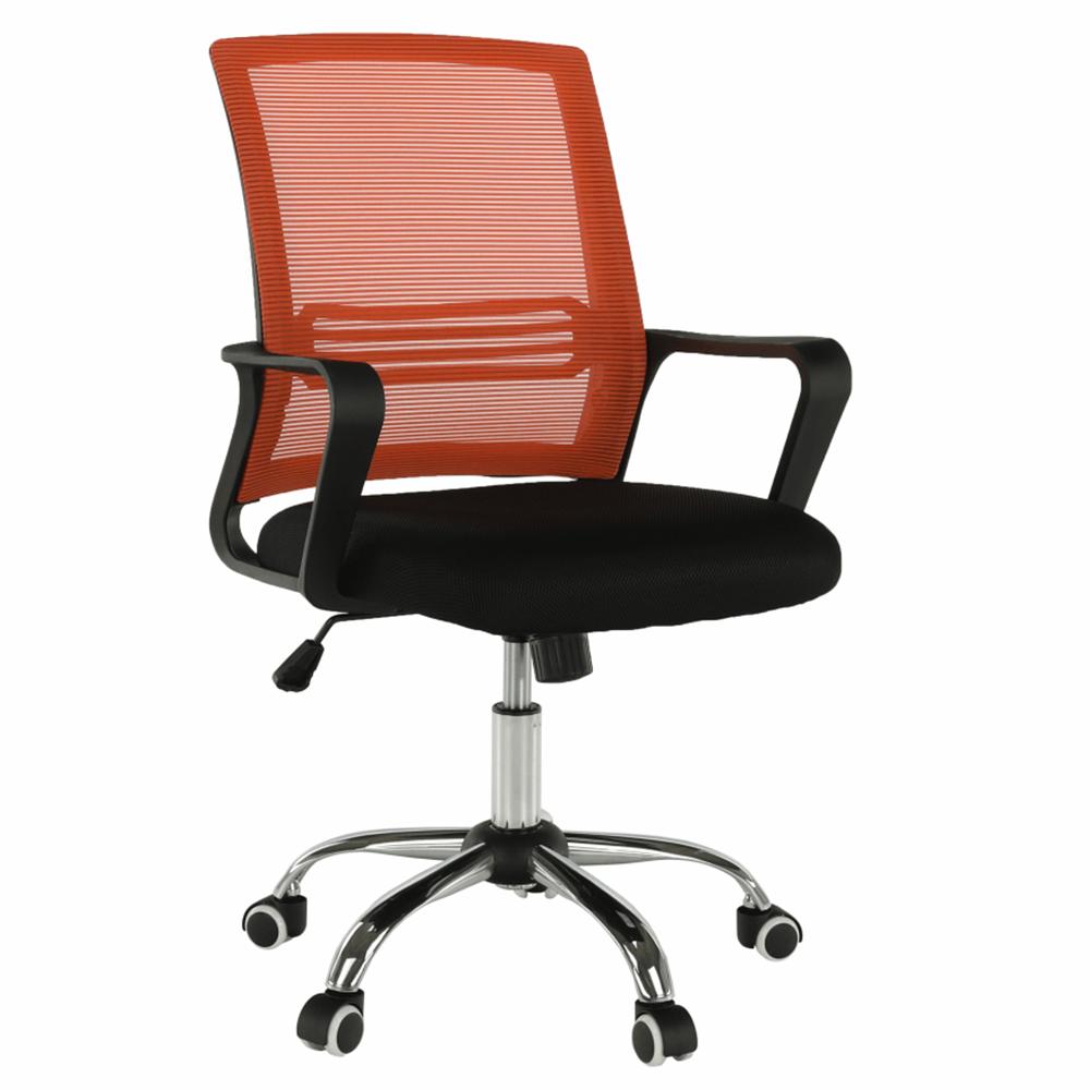 Kancelárska stolička, sieťovina oranžová/látka čierna, APOLO NEW