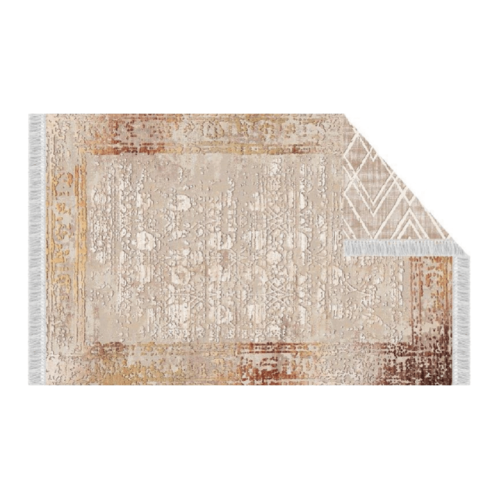 Oboustranný koberec, béžová/vzor, 80x150, NESRIN, TEMPO KONDELA