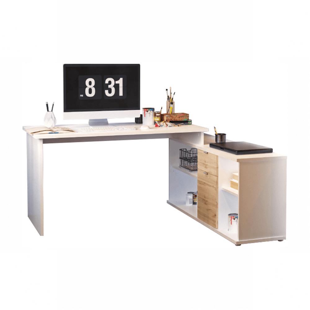 Masă de scris, alb/stejar wotan, DALTON 2 NEW