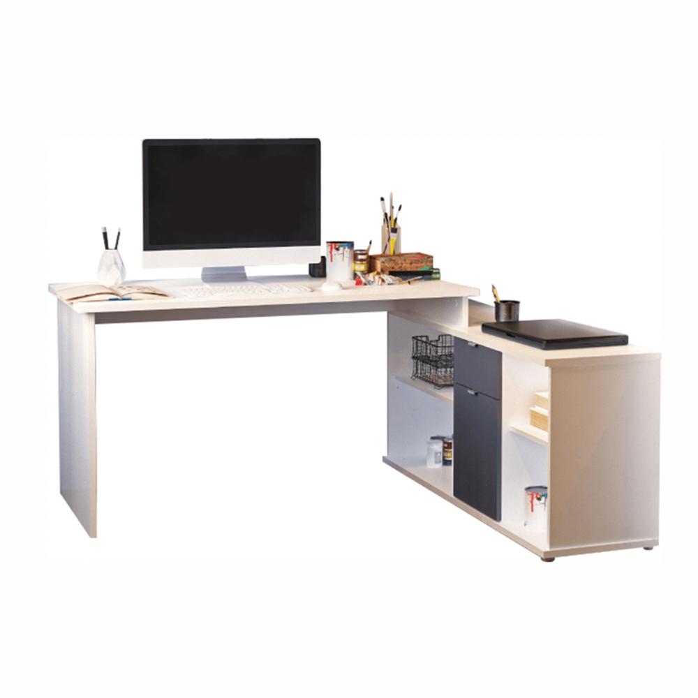 Písací stôl, biela/sivá, DALTON 2  NEW VE 02