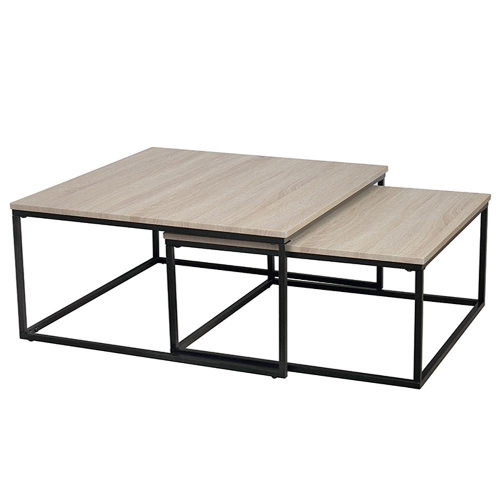 Set dvou konferenčních stolků, dub sonoma / černá, Kastler TYP 1, TEMPO KONDELA