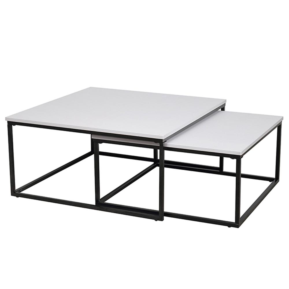 Konferenčné stolíky, set 2 ks, matná biela/ čierna, KASTLER TYP 1