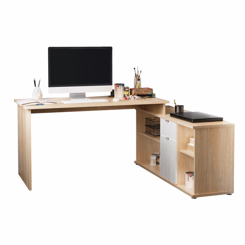 Kancelářský stůl, dub sonoma/bílá, DALTON 2 NEW, TEMPO KONDELA