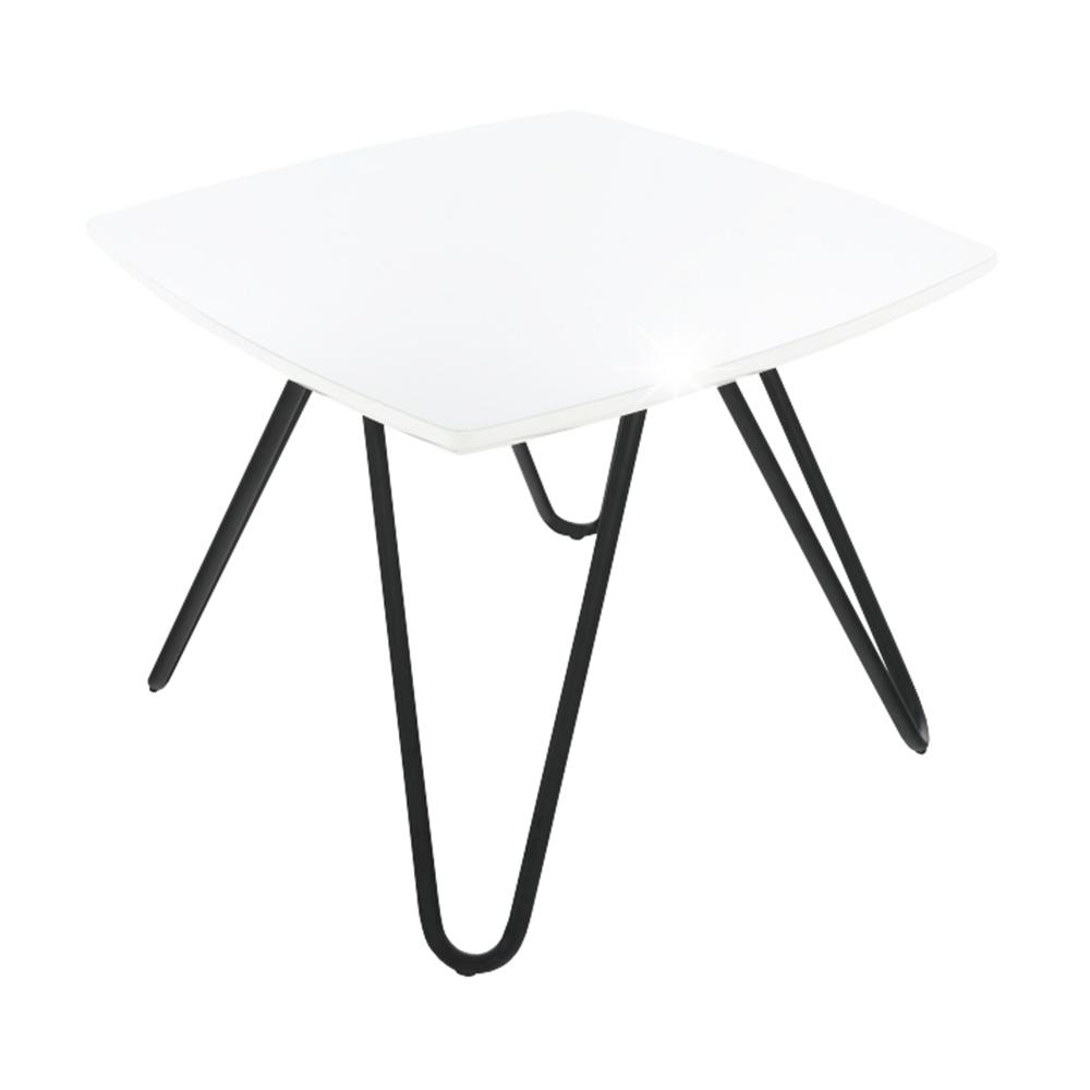 Príručný stolík, biela vysoký lesk/čierna, KANER 1