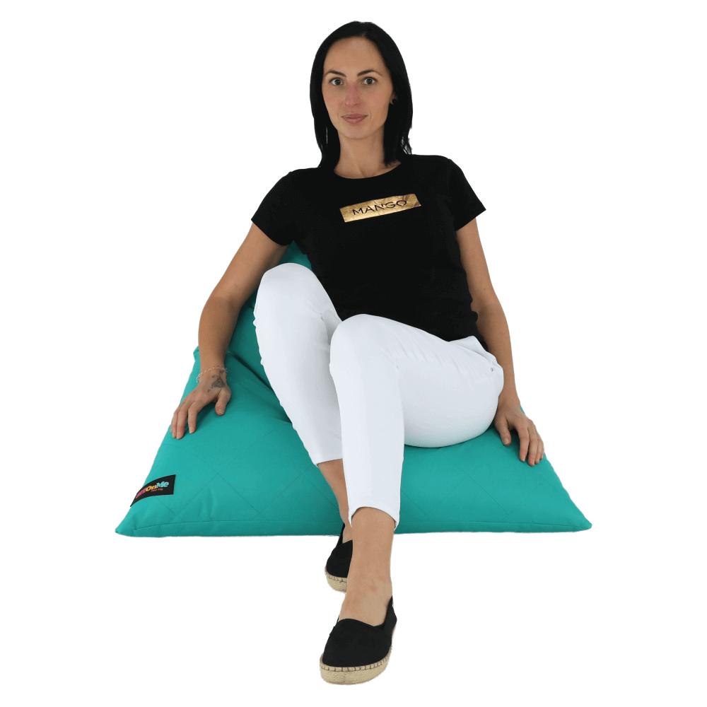 Fotoliu tip sac, material textil turcoaz, VETOK