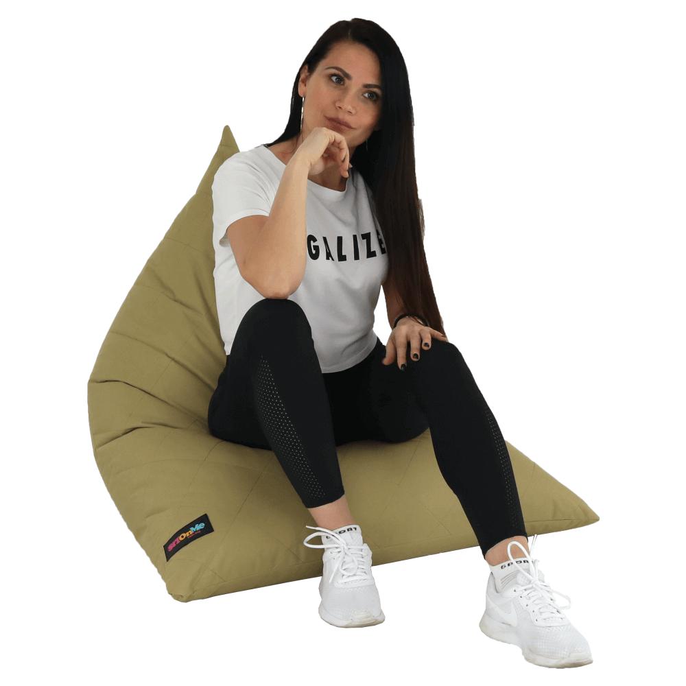 Fotoliu tip sac, material textil bej, VETOK