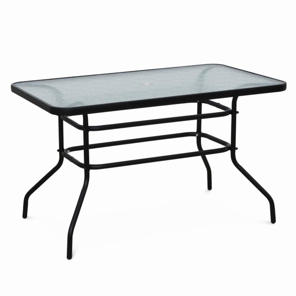 Jedálenský stôl s otvorom na slnečník, tvrdené sklo/oceľ, DEMAT NEW