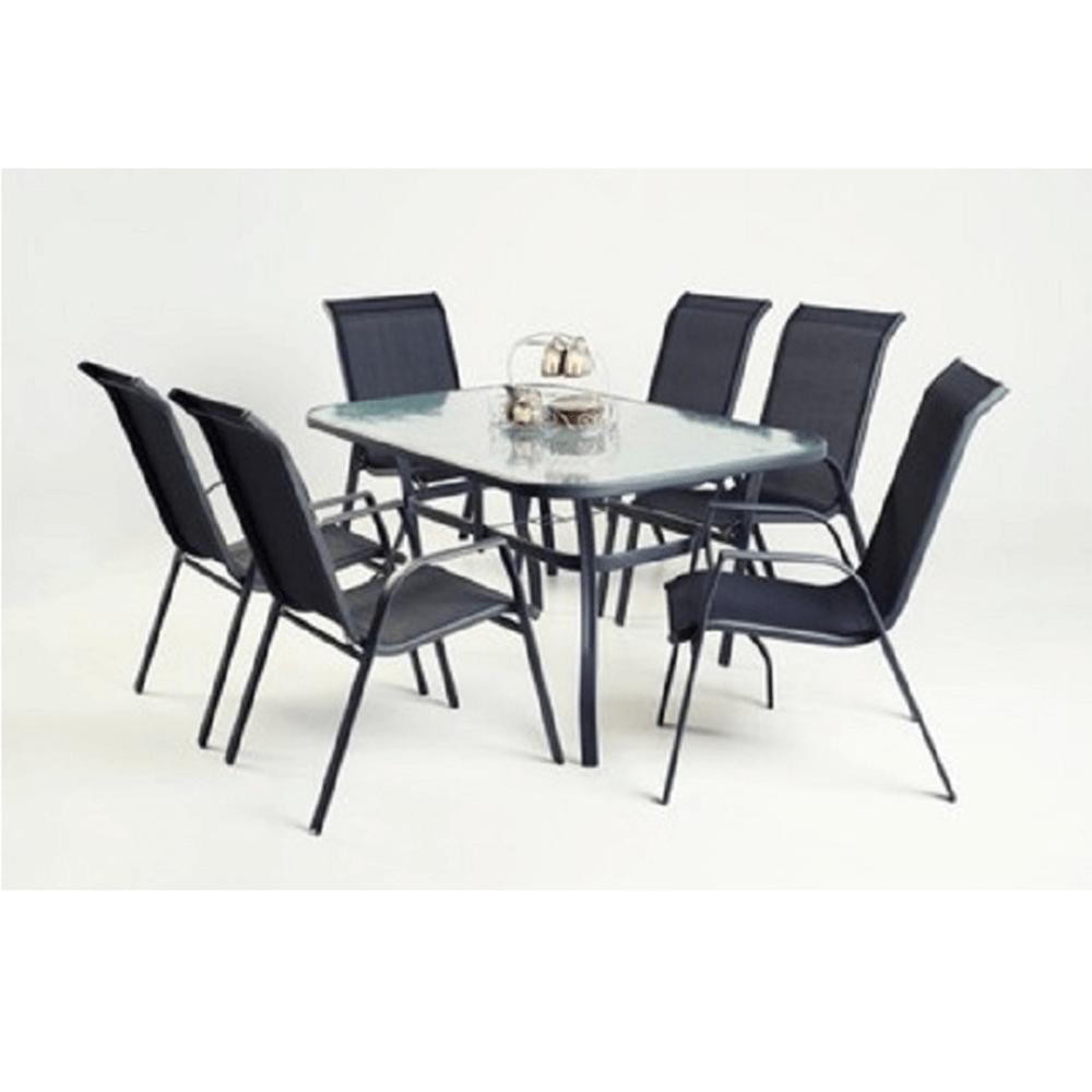 Jídelní stůl, tvrzené sklo/ocel, DEMAT NEW