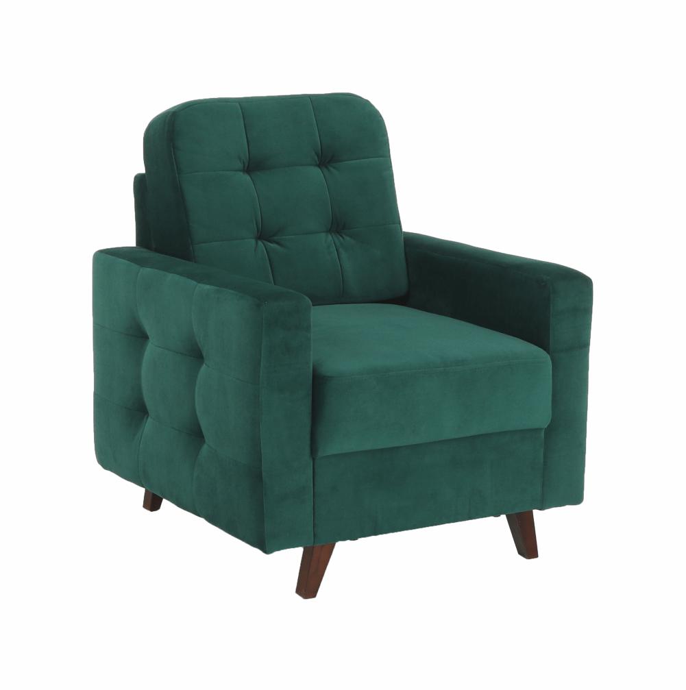 Fotel, smaragd / dió, MEDLIN