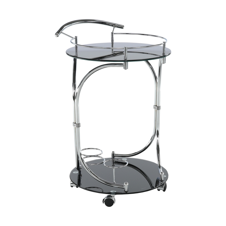 Servírovací stolík, čierne sklo/chróm, VESNA, rozbalený tovar