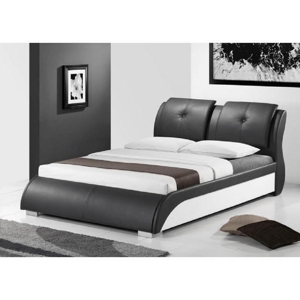 Modern ágy + ágyrács,  fekete + fehér textilbőr, 160x200, TORENZO