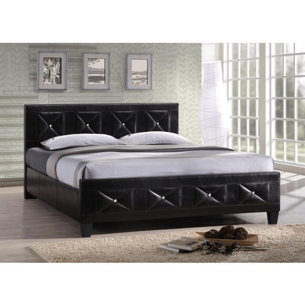 Manželská posteľ s roštom, ekokoža čierna, 160x200, CARISA