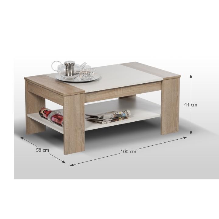 Dohányzóasztal,  sonoma tölgy/fehér , FINLEY
