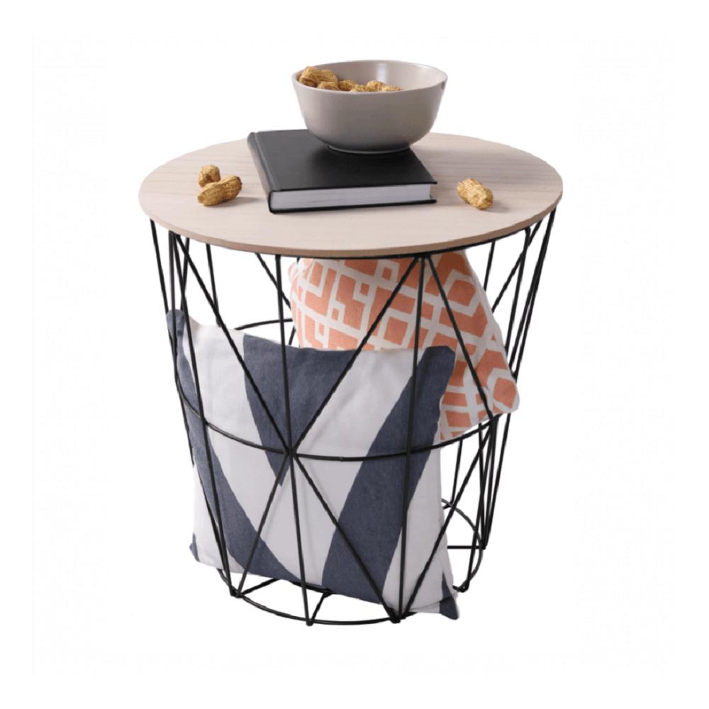 Príručný stolík, prírodná/čierna, NANCER TYP 2