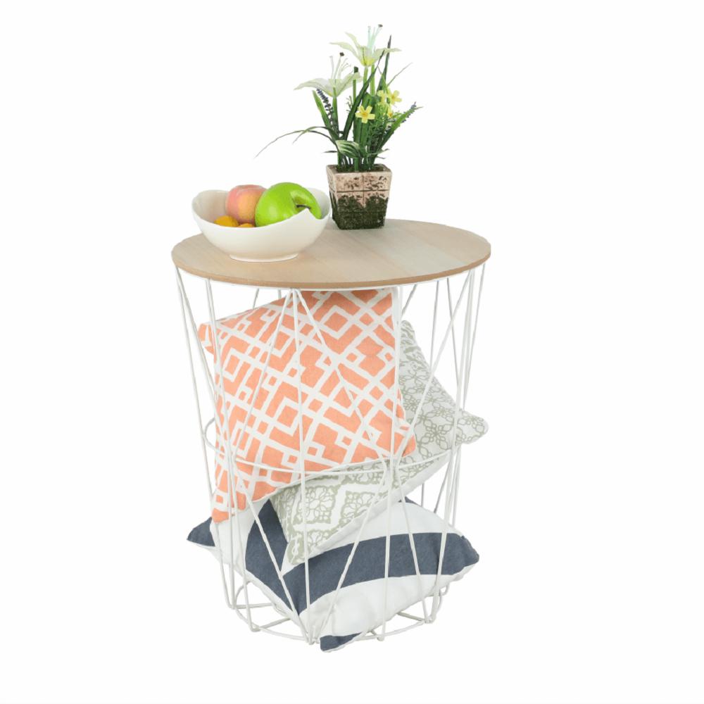 Příruční stolek, přírodní/bílá, NANCER TYP 3, TEMPO KONDELA
