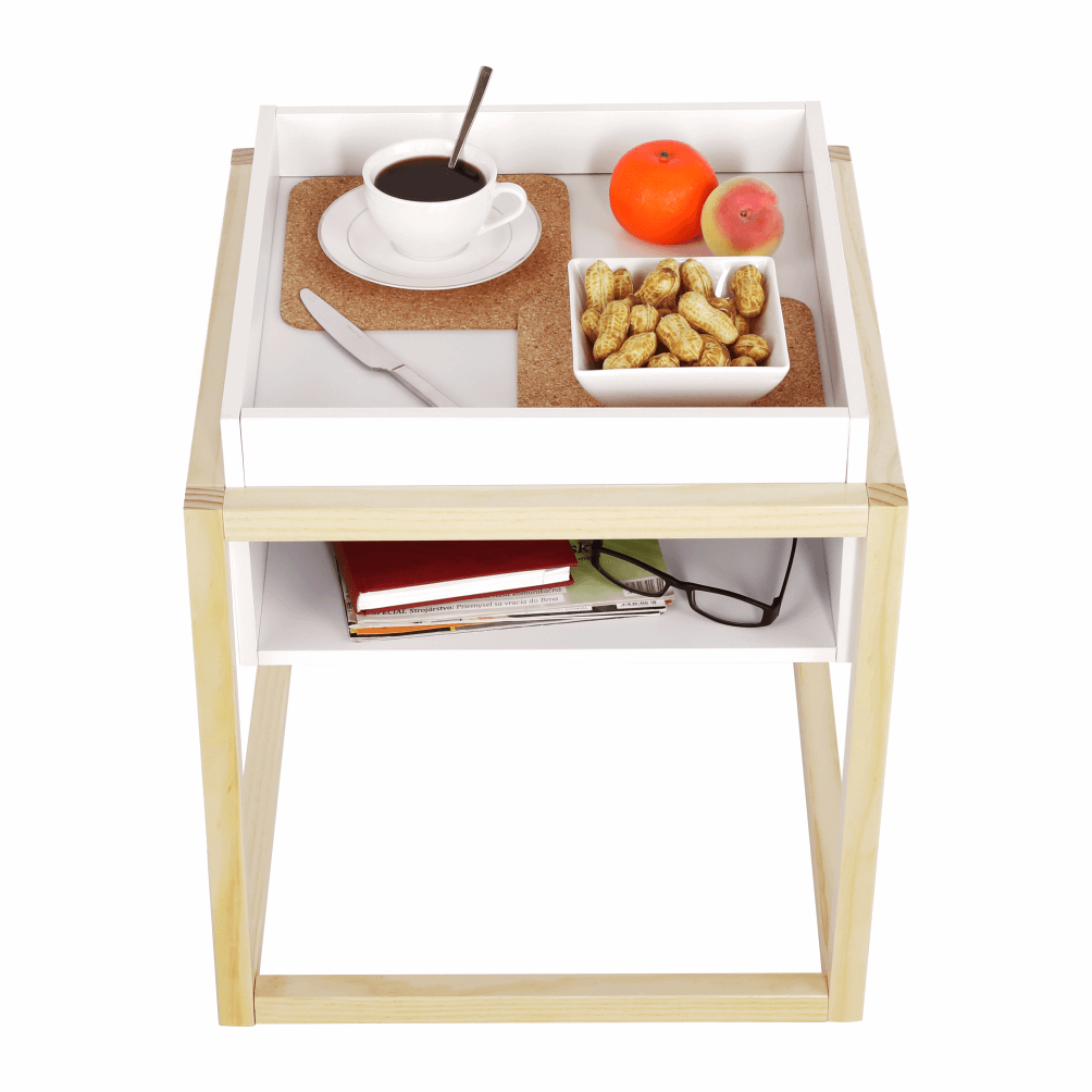 Příruční stolek, bílá/přírodní, HAGAN, TEMPO KONDELA