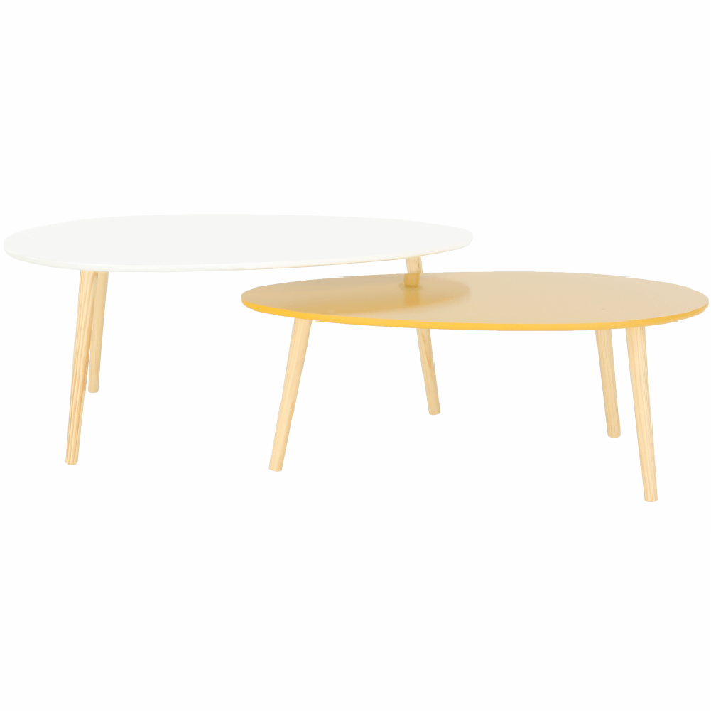 Konferenčné stolíky, set 2 ks, biela HG/žltomedová HG, DOBLO