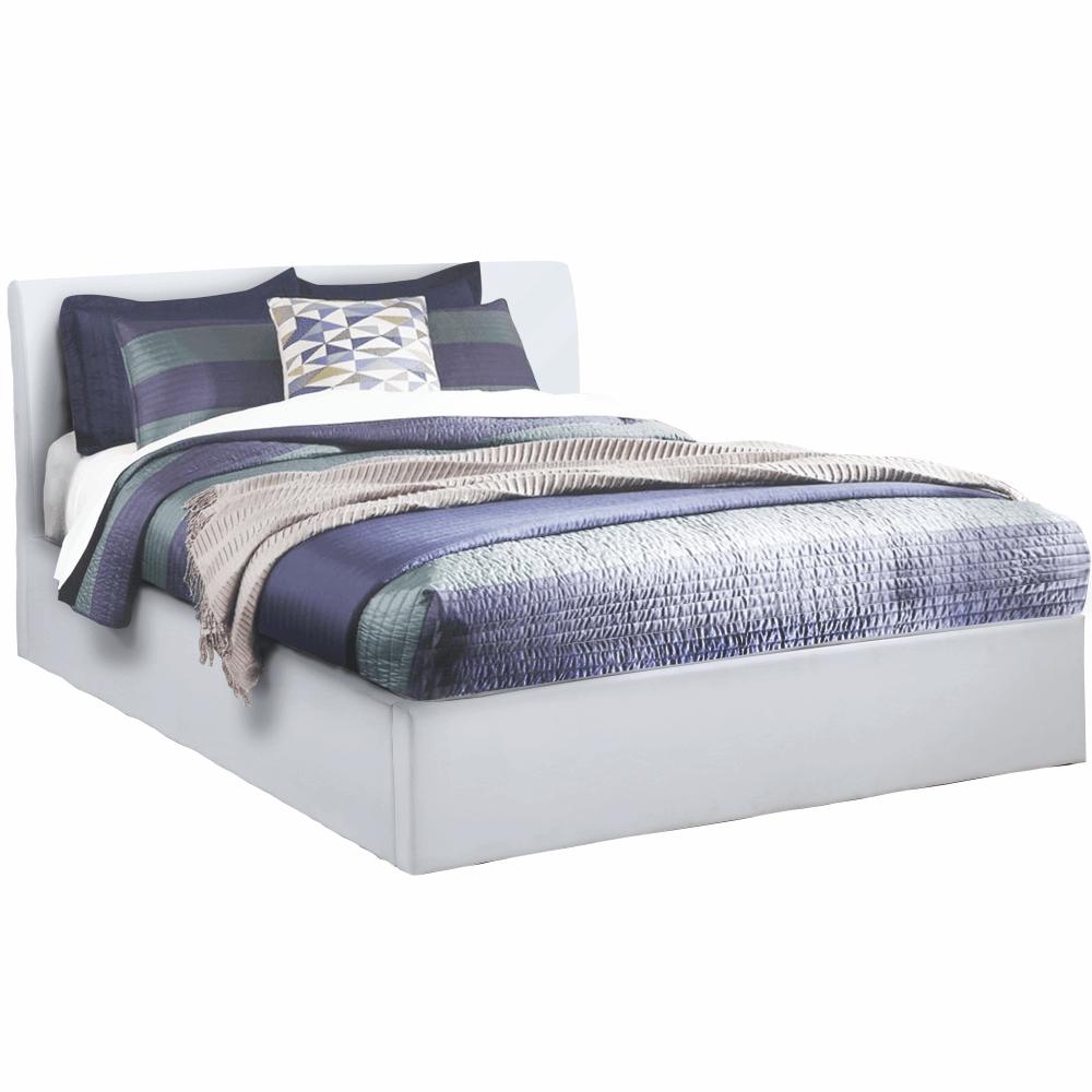 Manželská posteľ s úložným priestorom, biela, 180x200, KERALA