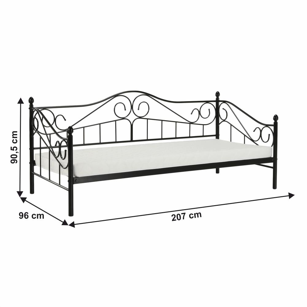 Kovová postel, černá, 90x200, DAINA