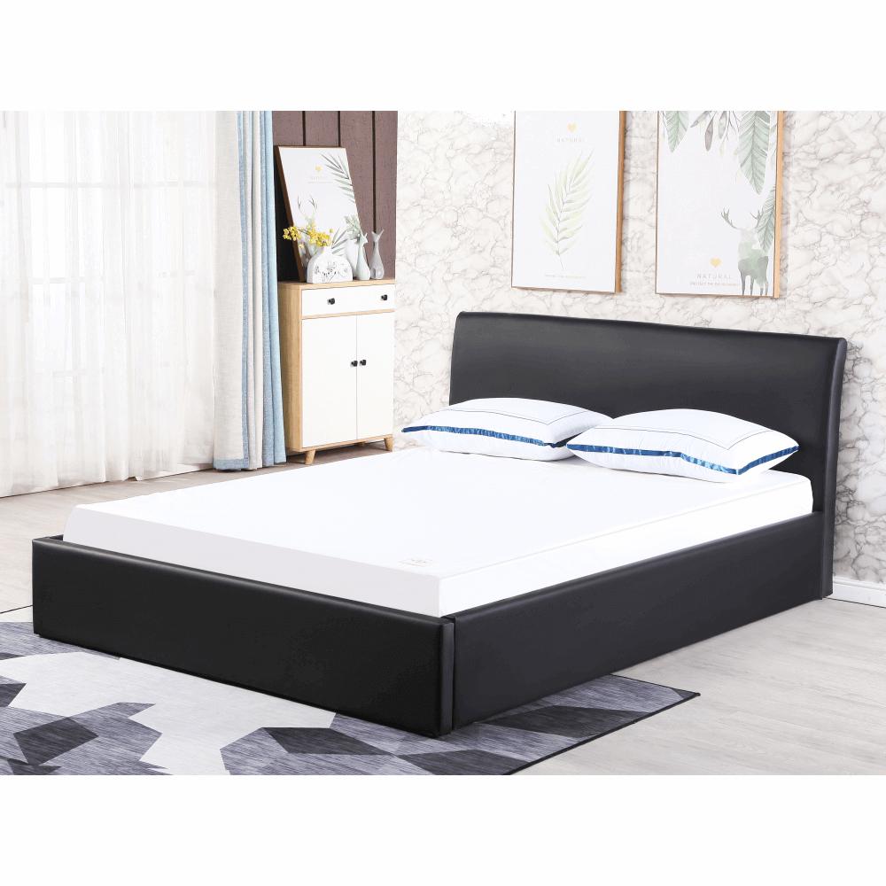 Dupla ágy rakodótérrel, fekete, 160x200, KERALA