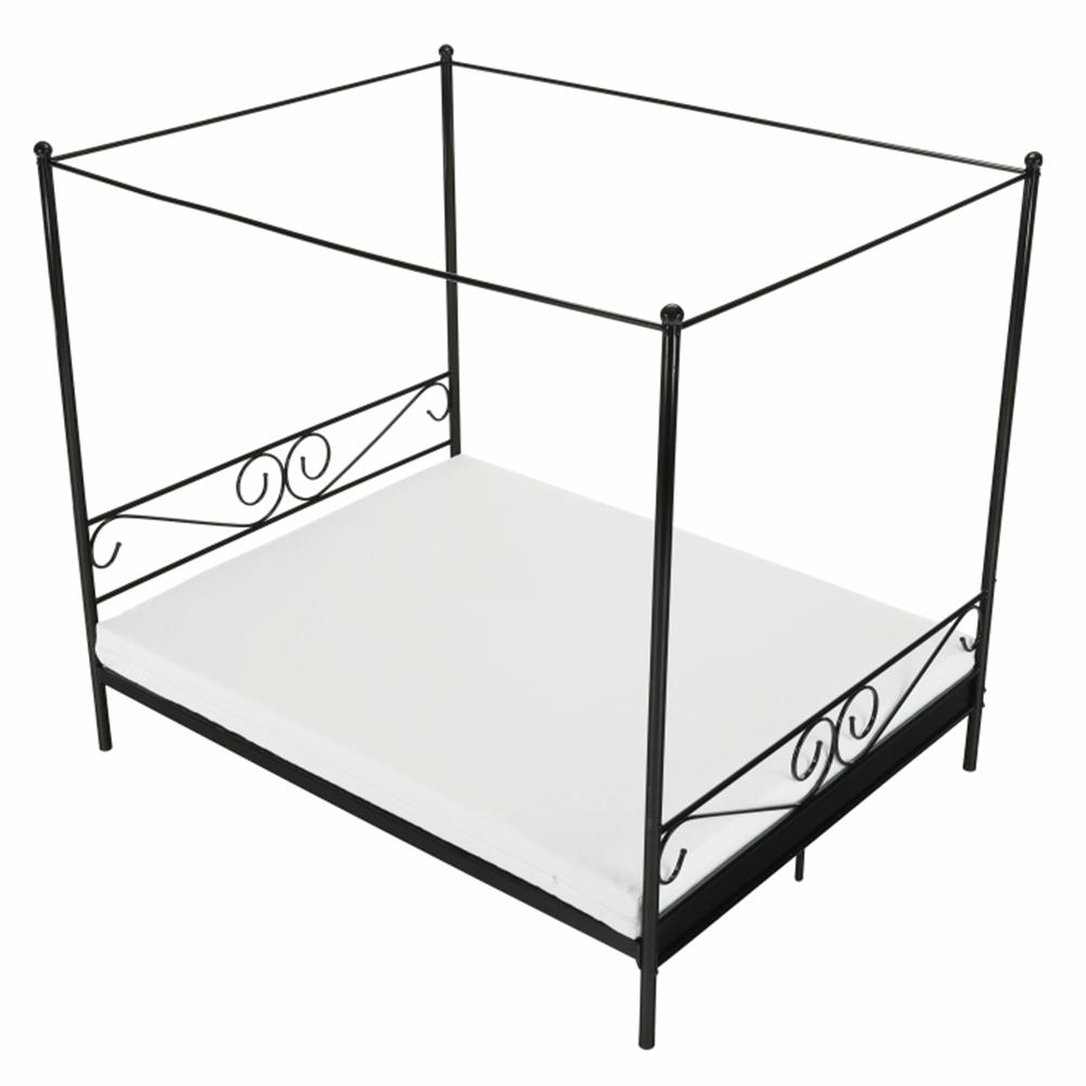 Kovová posteľ s nebesami, čierna, 160x200, ABENA