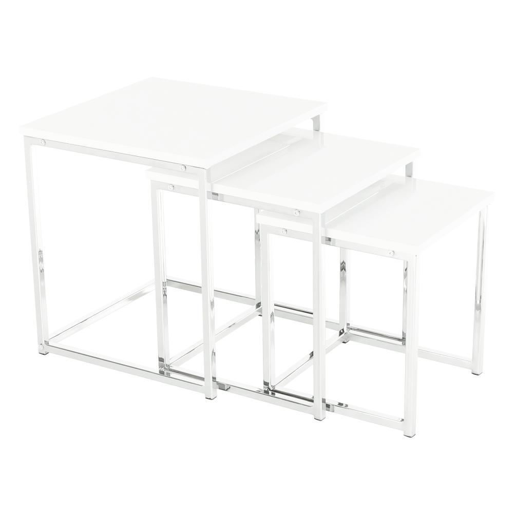 Set 3 konferenčních stolků, bílá extra vysoký lesk, ENISA TYP 3, TEMPO KONDELA
