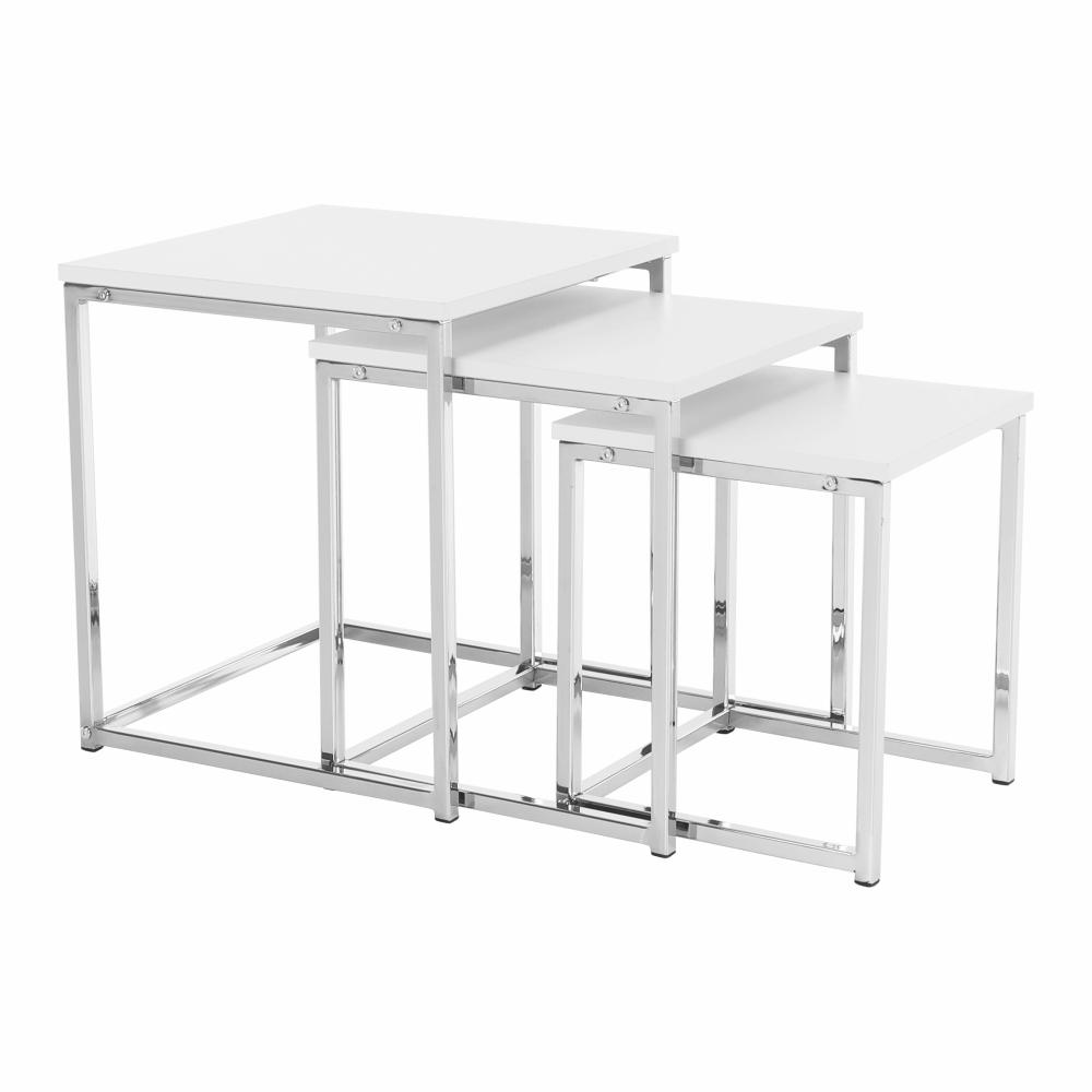 Konferenčné stolíky, set 3 ks, biela matná/chróm, MAGNO TYP 3
