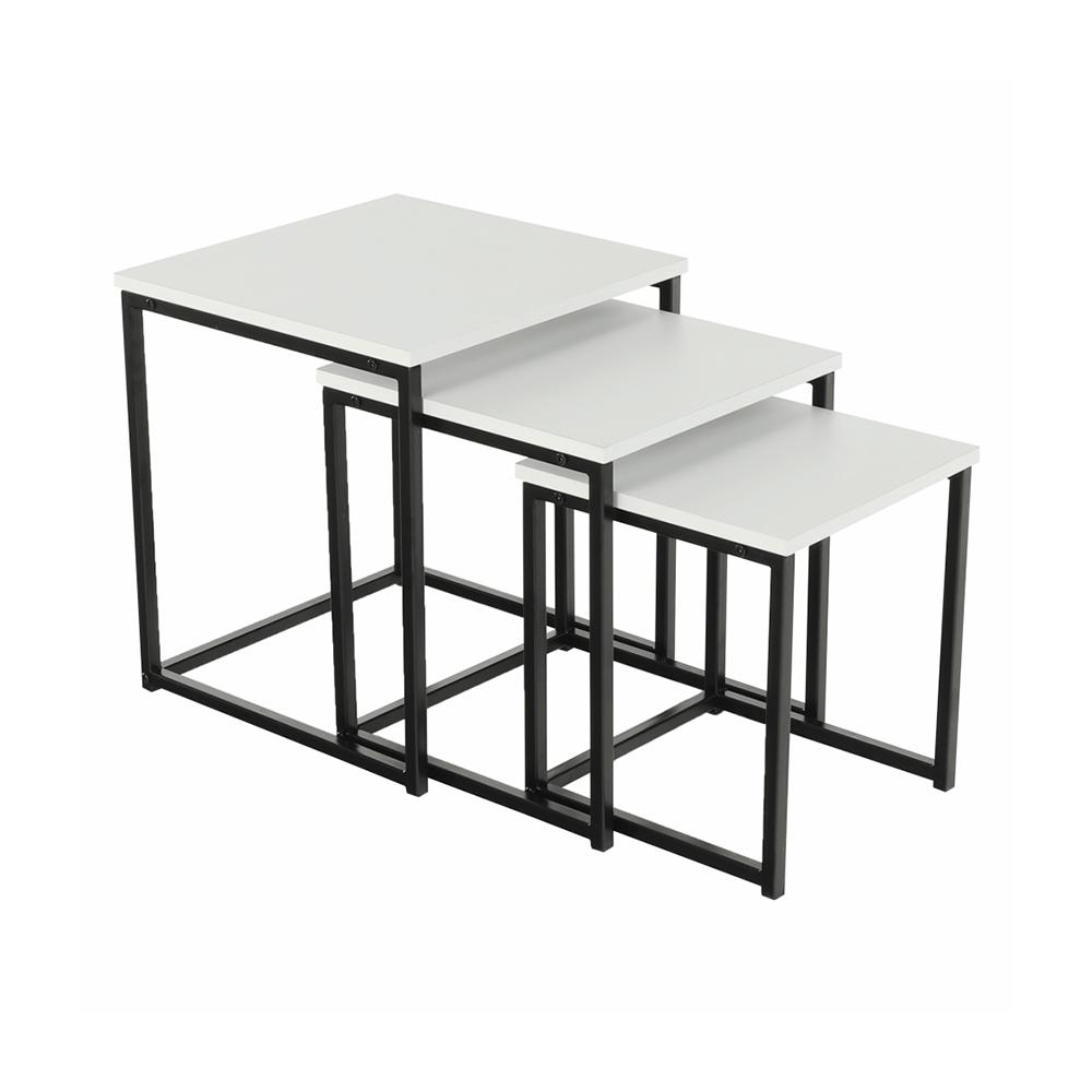 Set 3 konferenčních stolků, bílá matná / černá, KASTLER TYP 3, TEMPO KONDELA