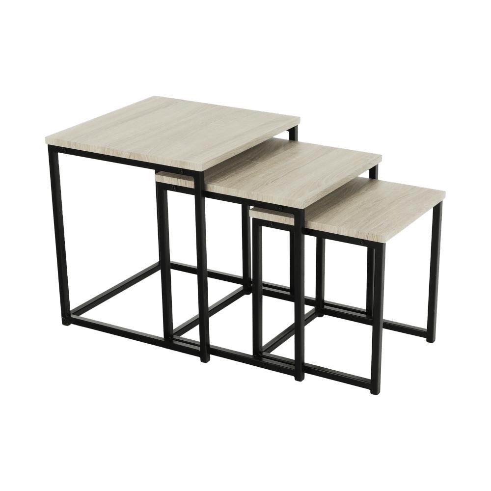 Set 3 konferenčných stolíkov, dub sonoma/ čierna, KASTLER TYP 3