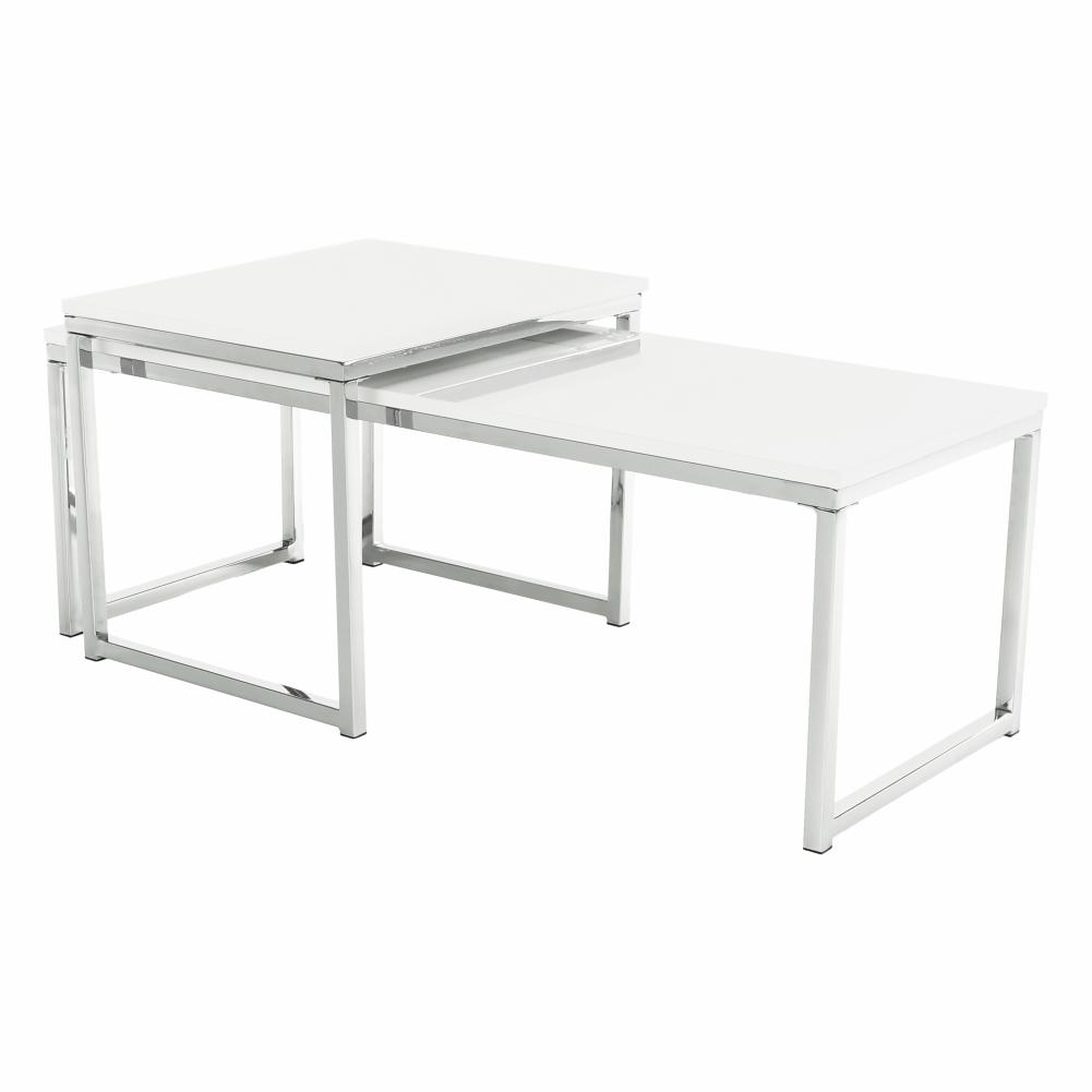 Set 2 konferenčních stolků, bílá extra vysoký lesk, ENISA TYP 2, TEMPO KONDELA