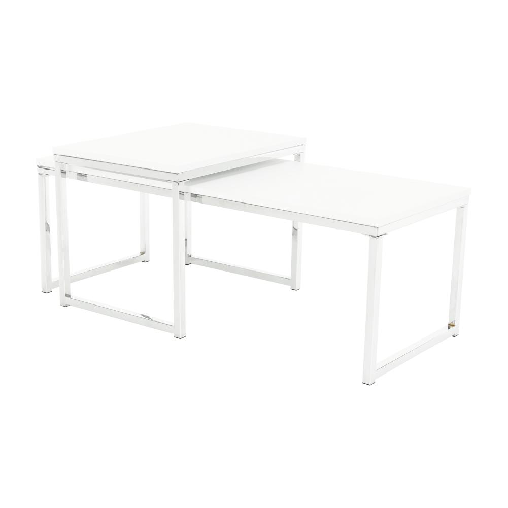 Konferenčné stolíky, set 2 ks, biela matná/chróm, MAGNO TYP 2