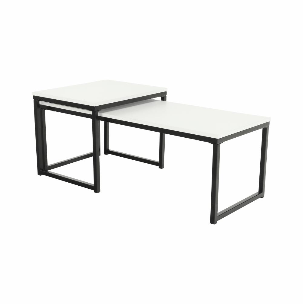 Set 2 konferenčných stolíkov, matná biela/čierna, KASTLER TYP 2