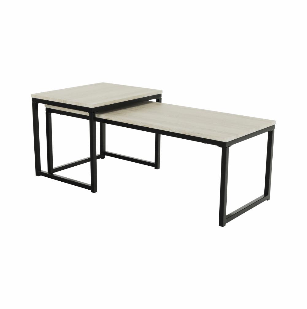Set 2 konferenčných stolíkov, dub sonoma/čierna, KASTLER TYP 2
