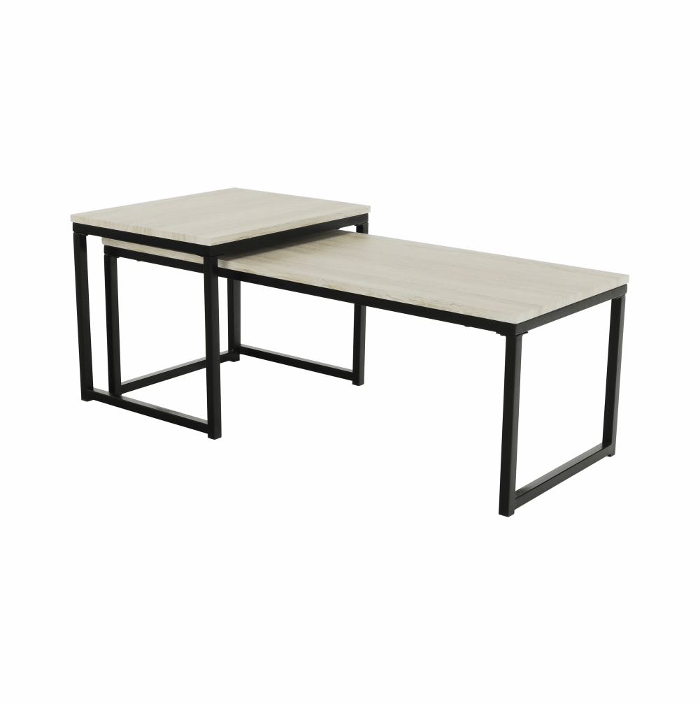 Konferenčné stolíky, set 2 ks, dub sonoma/čierna, KASTLER TYP 2