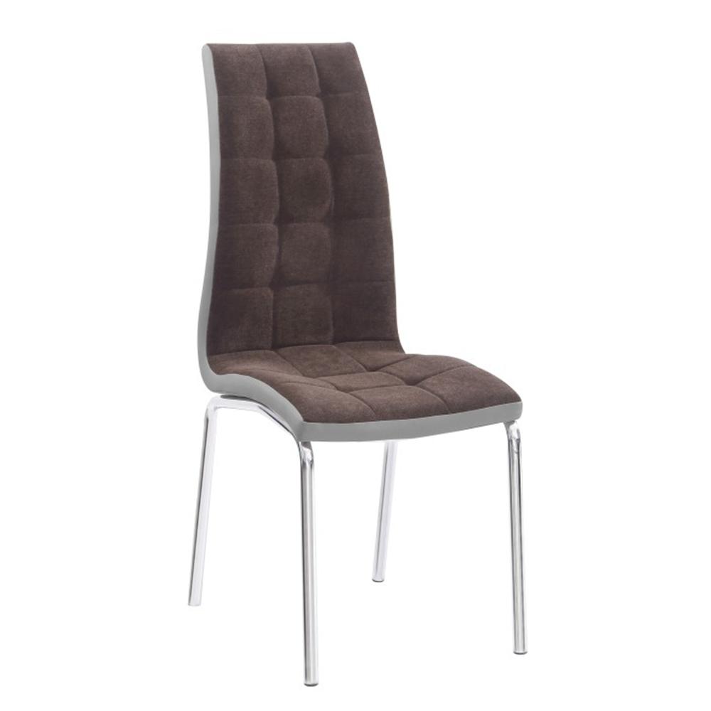 Jedálenská stolička, hnedá/sivá/chróm, GERDA NEW