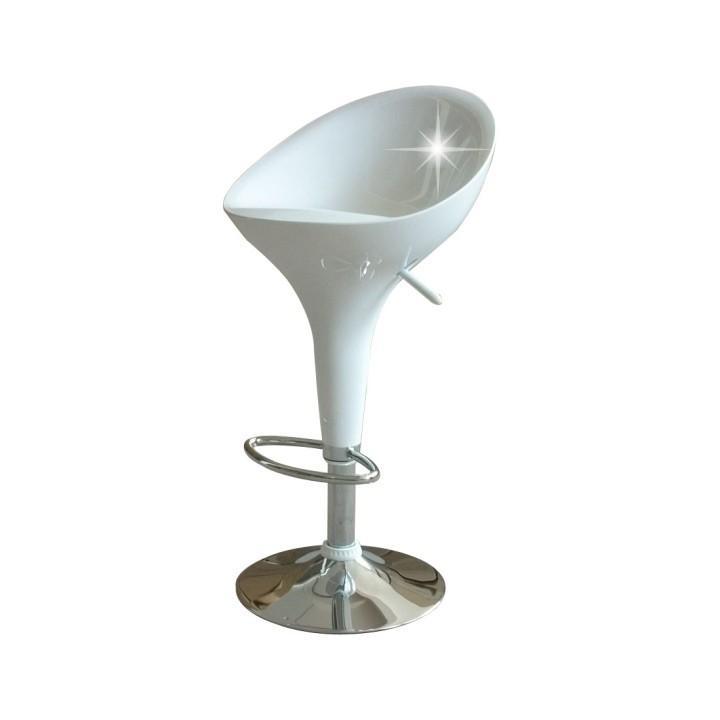Barová stolička, chróm/biela, ALBA NEW