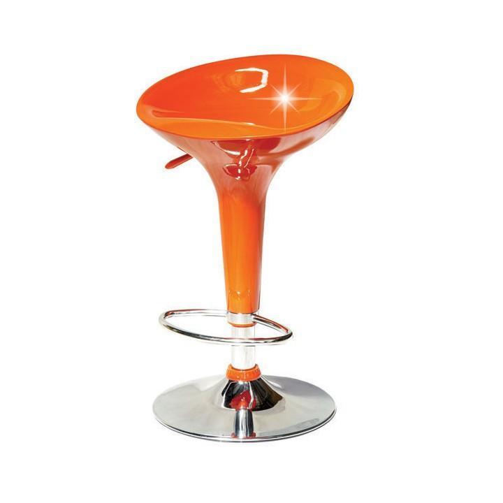 Barová stolička, oranžová/chróm, INGE