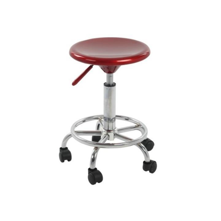 Stolička na kolieskách, červený plast/chróm, MABEL NEW