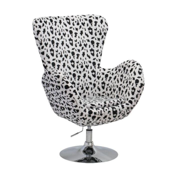 Relaxačné kreslo, látka bielo-čierna/chróm, OLLI NEW