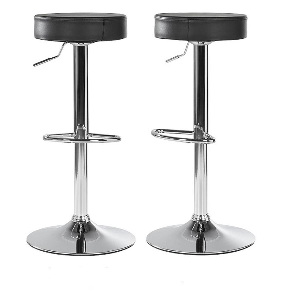 2 kusy, barová stolička, čierna ekokoža/chróm, ADALIN