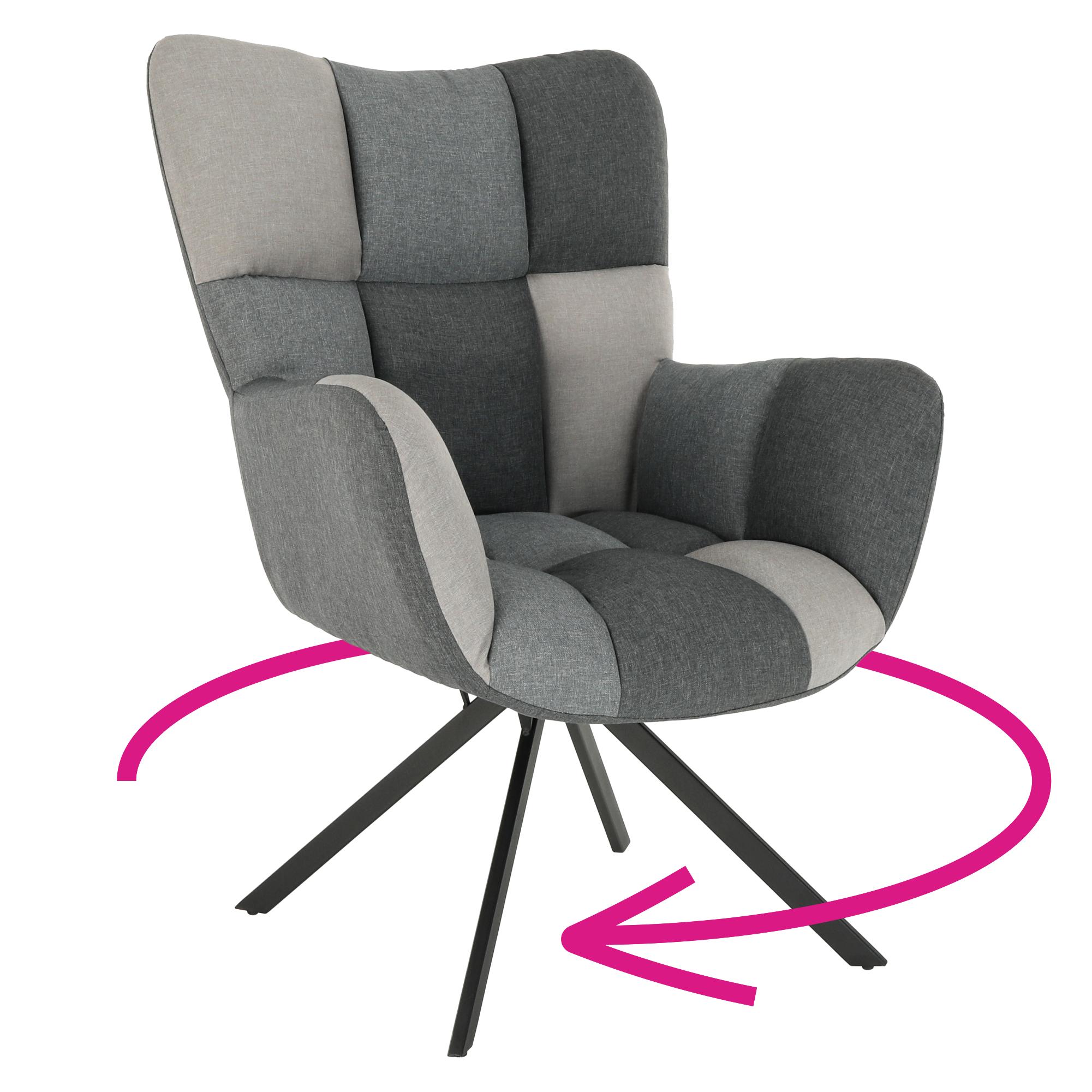 Dizájnos forgó fotel, patchwork/fekete, KOMODO