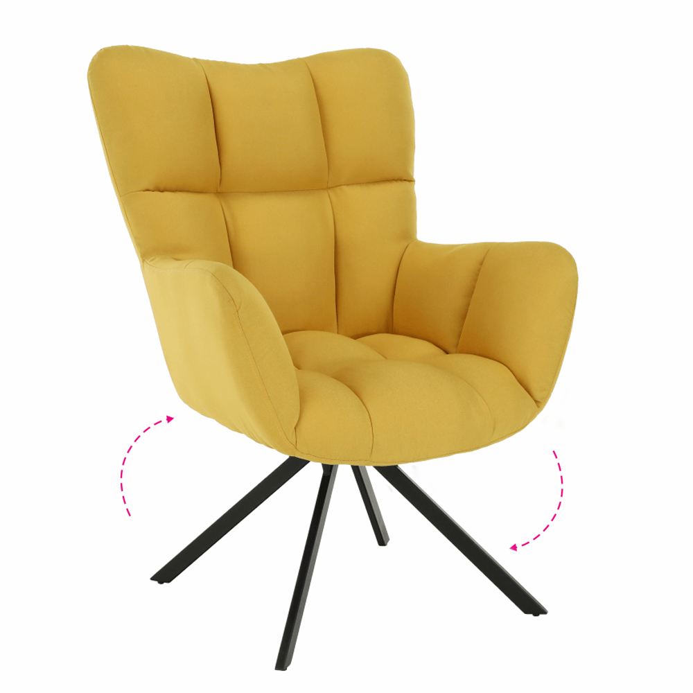 Fotoliu de design rotativ, galben/negru, KOMODO