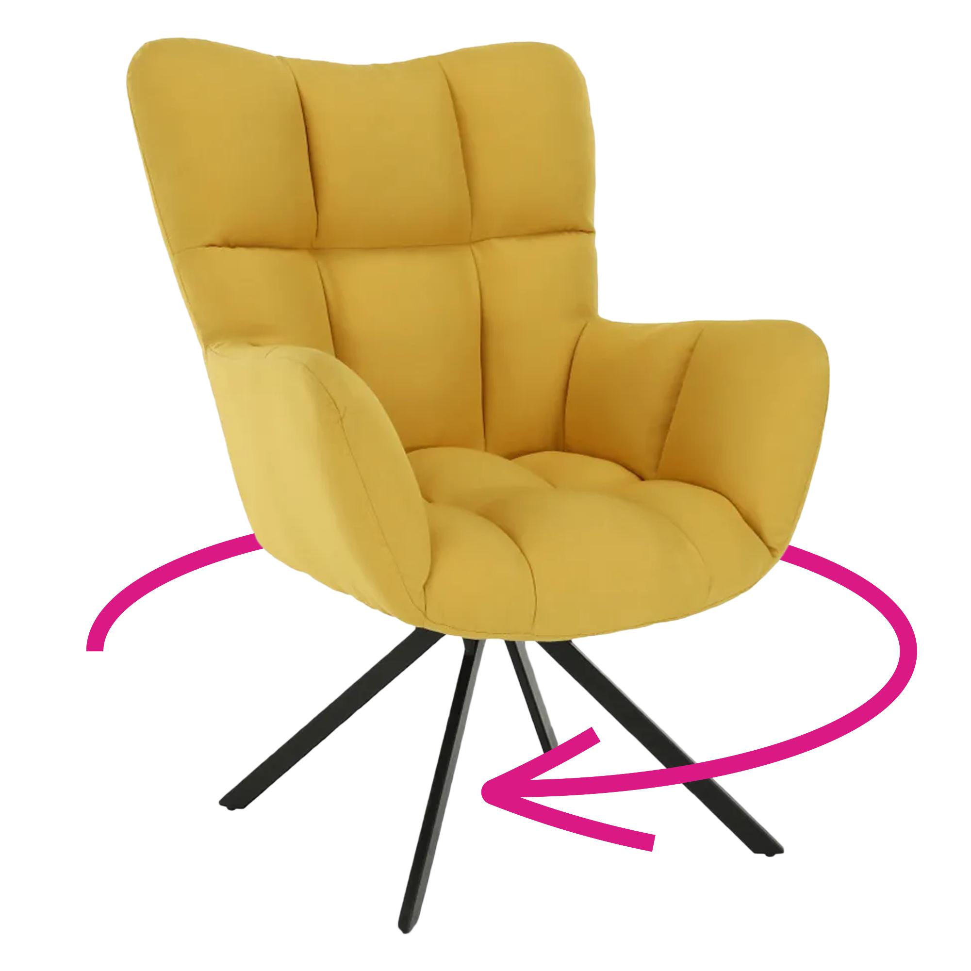 Dizajnové otočné kreslo, žltá/čierna, KOMODO