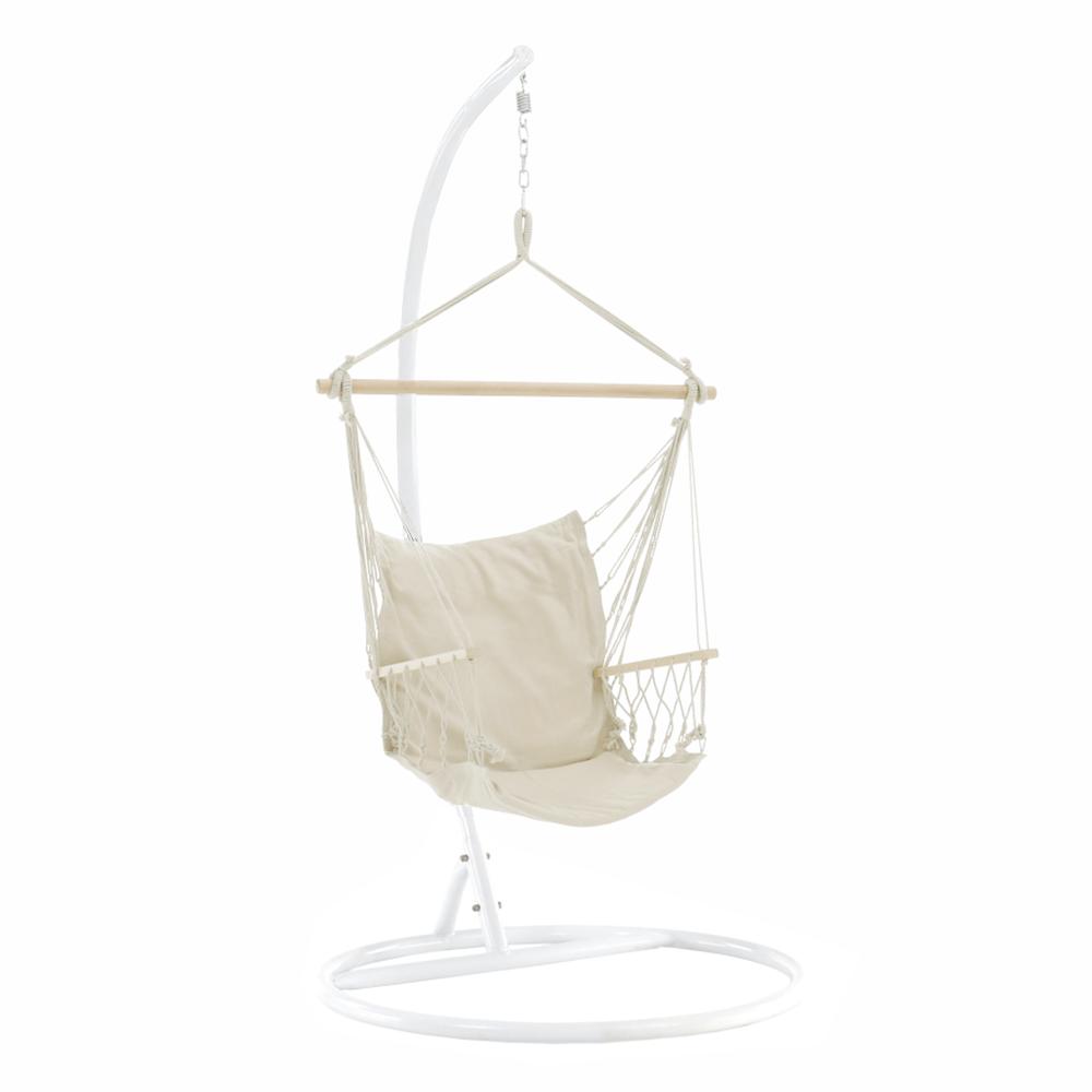 Závesné kreslo, bavlna/drevo, biela, VINTO 2 NEW