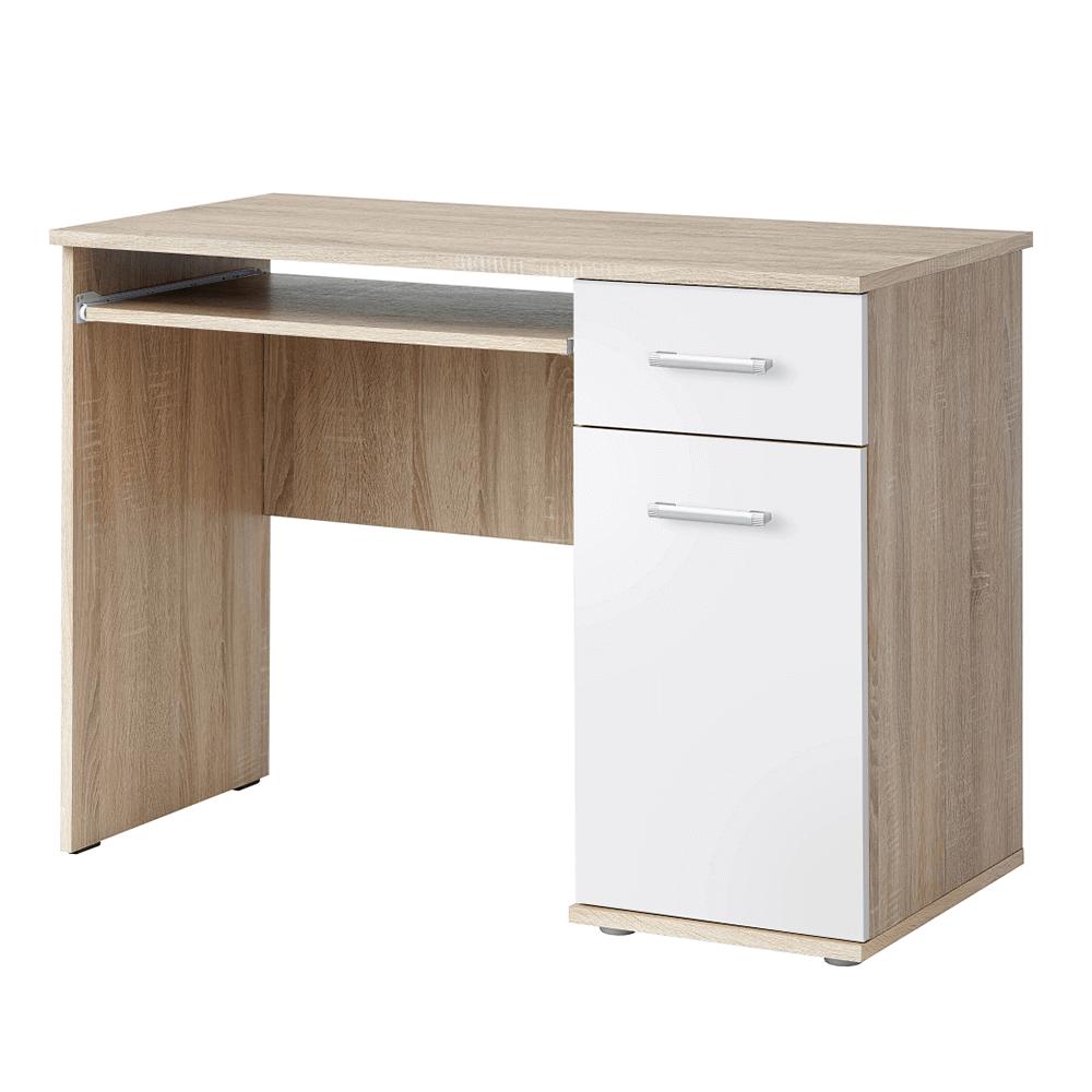 PC stôl, dub sonoma/biela, EMIO Typ 6, poškodený tovar