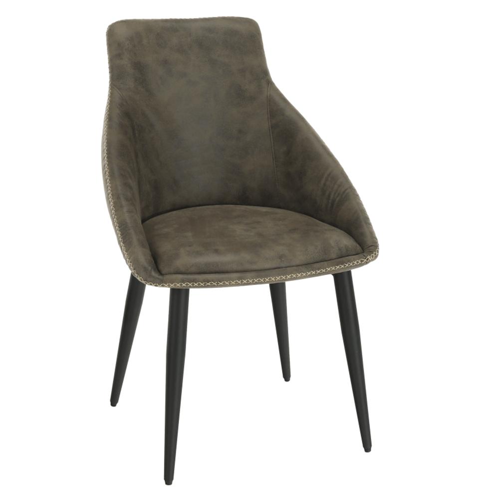 Jedálenská stolička, hnedá látka s efektom brúsenej kože, DARAY
