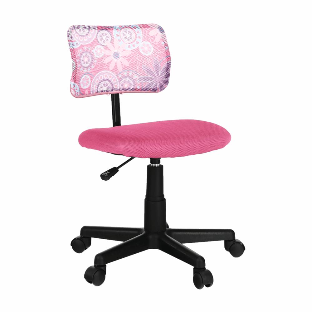 Otočná stolička, ružová/vzor/čierna, PERCY