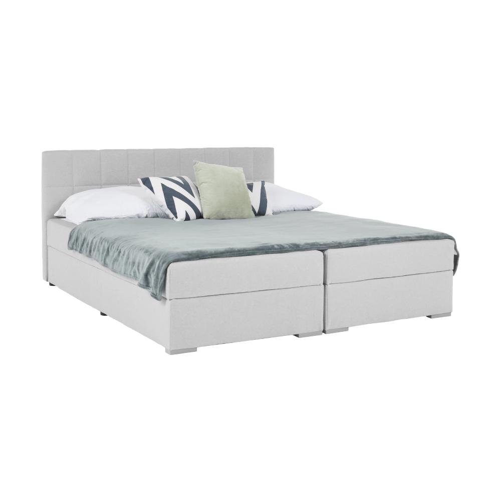 Boxpringová posteľ 160x200, svetlosivá, FERATA KOMFORT