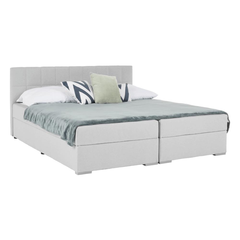 Boxspring típusú ágy 180x200, világosszürke, FERATA KOMFORT