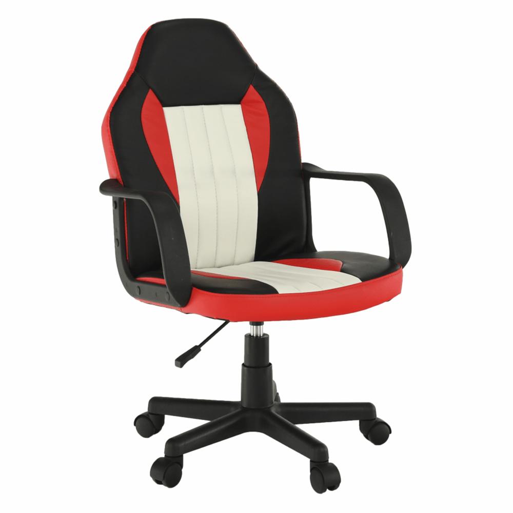 Kancelárske kreslo, čierna/červená/béžová, MALIK NEW